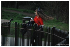 A girl dancing in the park
